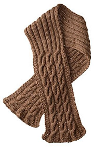 A simple cable repeat with seed stitch borders gives this scarf a sophisticated look. The slightly narrower ribbed center section eliminates bulk while still providing warmth under your jacket collar.</span>
