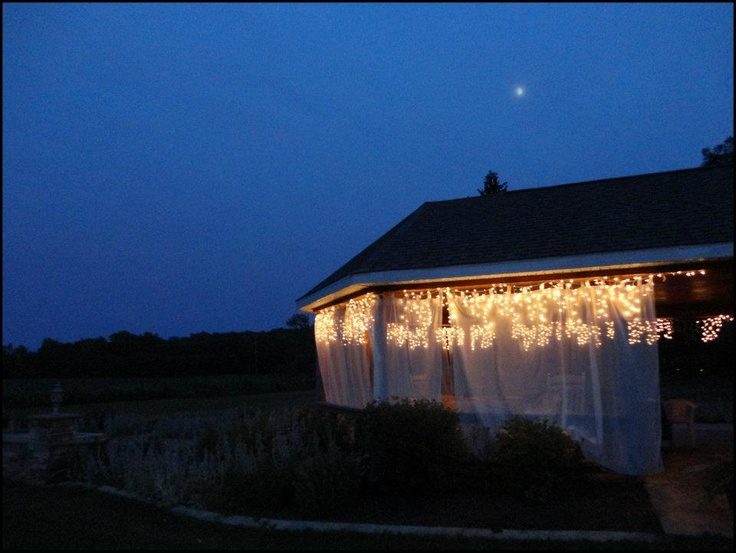 The breathtaking gazebo lit up at night makes for the perfect spot for stargazing or just relaxing in the hot tub inside of the gazebo.  #hottub #stargazing