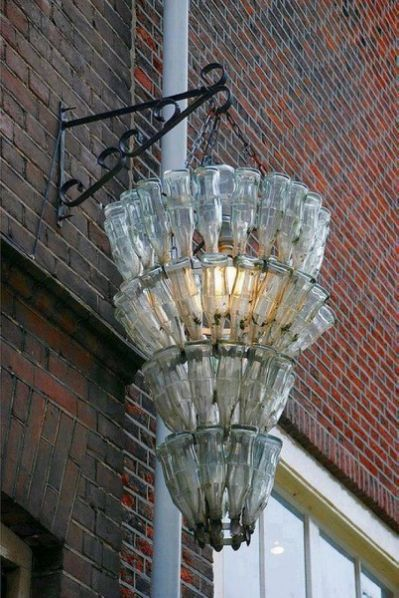 Chandelier from recycled Coke