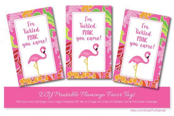 Pink Flamingo Favor Tags with Editable Text Printable Pink