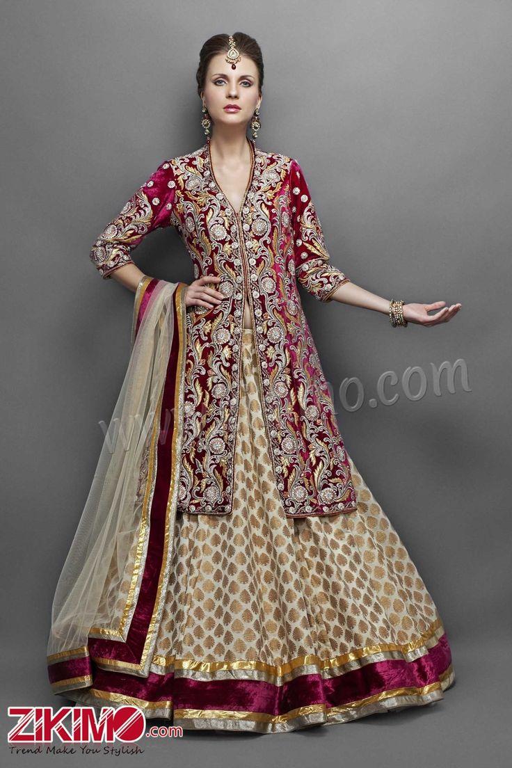 Engrossing maroon Brocade Wedding Wear Lehenga