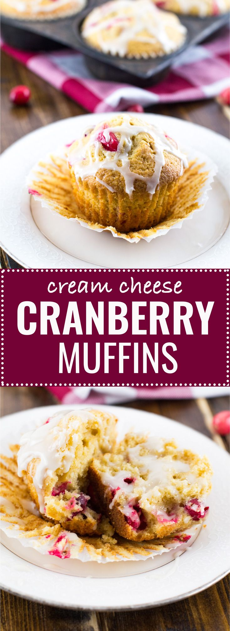 whole wheat cranberry cream cheese muffins are the perfect Christmas morning breakfast! These taste fresh out of a bakery and your family will be begging you to make more! #cranberry #creamcheese #muffins #christmas