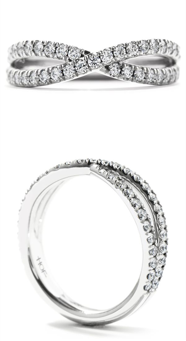 Popular infinite twisted white gold or platinum diamond wedding bands