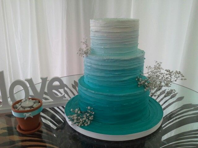 Turquoise Ombre Rustic Wedding Cake Created By MJ Www.mjscakes.co.nz In