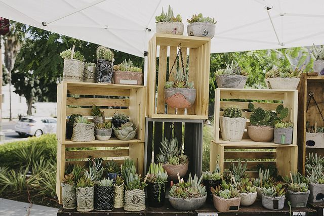 Good use of crates to add height to your craft fair table.