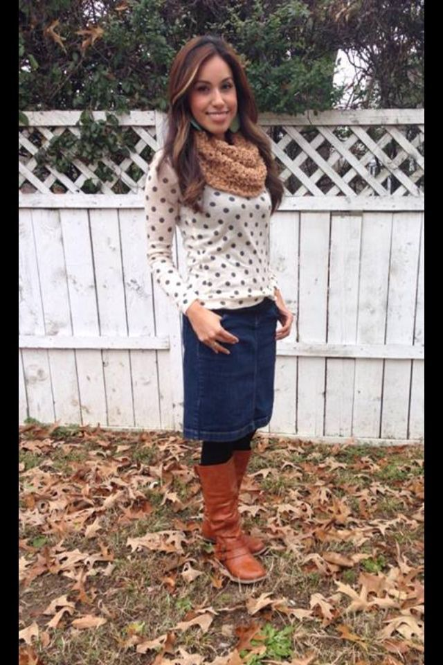 Denim skirt, polka dot sweater, camel scarf. Modest winter fashion skirt needs to be longer but cute