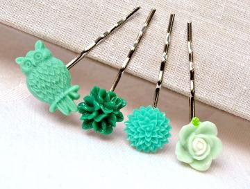 Mother's day sale,Green owl woodland, resin flower bobby pin, head Woman accessories  mint hair rose mum bridesmaid wedding vintage filigree by artemisartdesign for $12.60