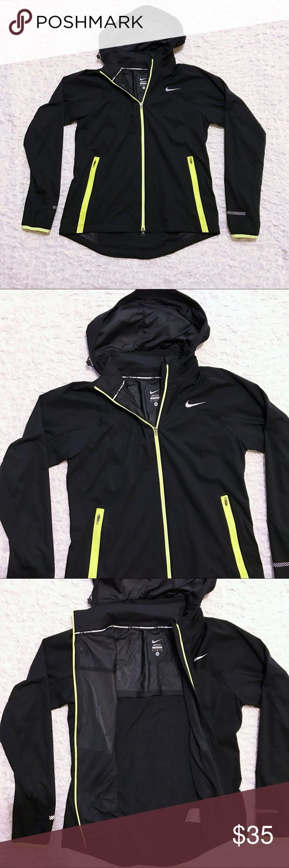 Nike Running Jacket Women's Nike running jacket. Size medium. Has detachable hood. Black with lime green trim. Light and breathable. Excellent condition. Nike Jackets & Coats