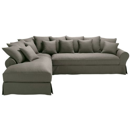 Sofá esquinero de 6 plazas de lino gris topo