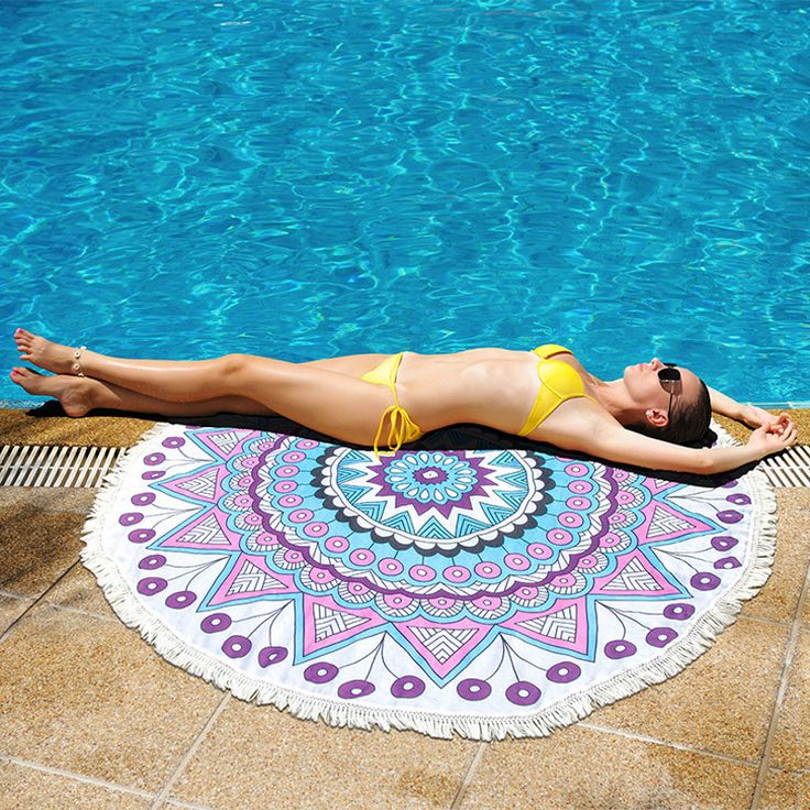 European American Fashion Tassel Beach Towel Summer Vacation Seaside Shawl Bath Towel Large Cooling Swimming Towel Mermaid 1PC #Affiliate
