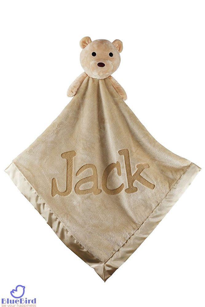 f9726da0f7200 Satin Border Teddy Bear Personalized Baby Blanket Boy Girl Newborn ...