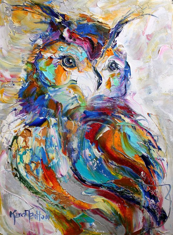 Original Owl palette knife painting impressionism oil on canvas fine art by Karen Tarlton