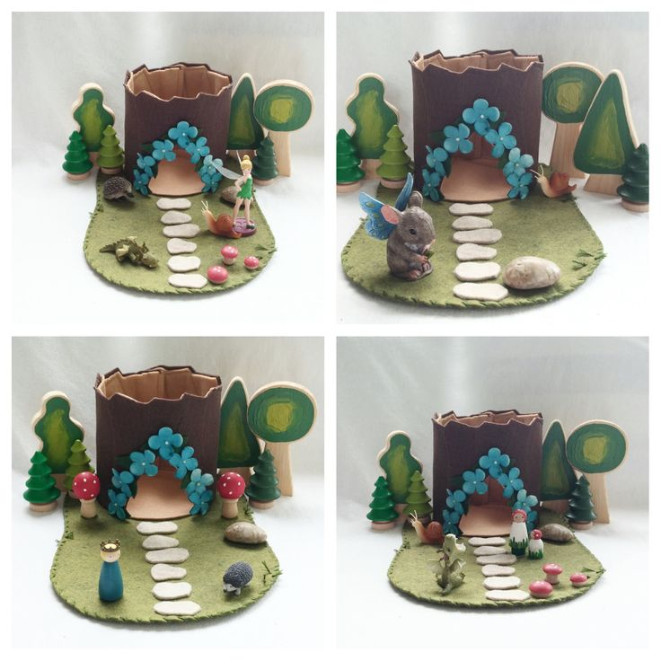 Blue Flower Tree Stump Cottage Playscape Play by MyBigWorld2015
