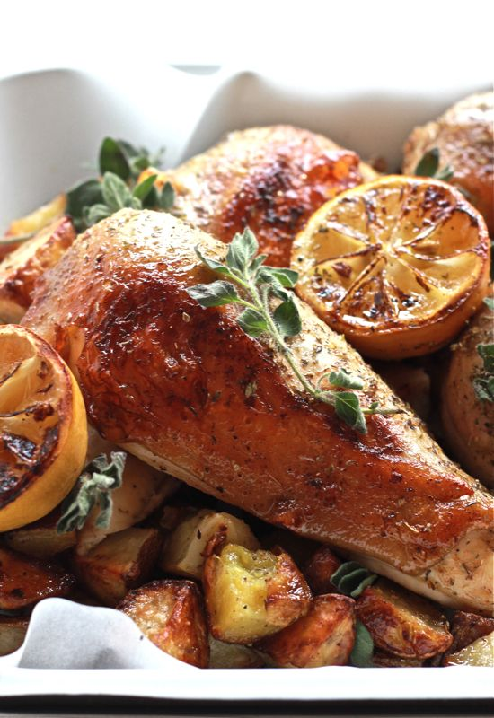 greek chicken with lemon + oregano