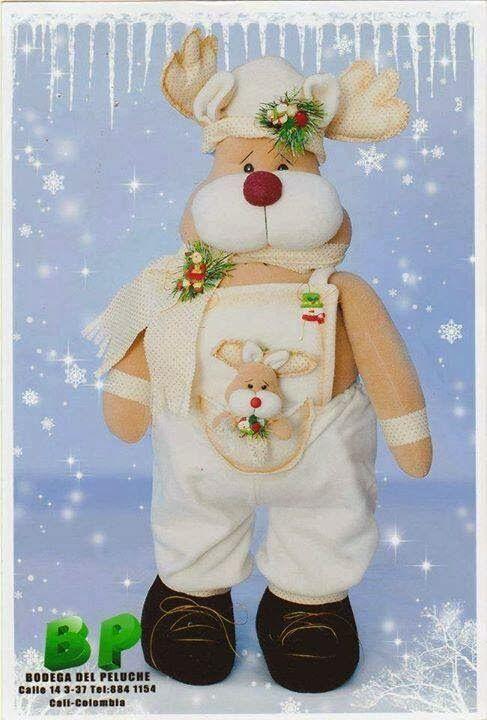 Muñeco navideño reno, moldes