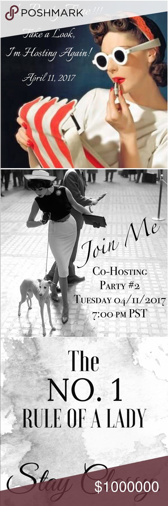 ✨🎉Co-Hosting Party #2 • Tuesday • April 11th🎉✨ I'm so honored and excited to be Co-Hosting my second party on Tuesday, April 11th @ 7:00pm PST. (9:00pm CST) Details to come on theme announcement. Please join me and help spread the word❣️🥂🎉 😘 Co-Host Other