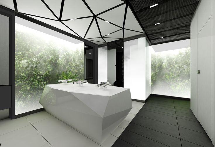 Design of the interior for public toilets and corridors in SC Złote Tarasy, stage 02. #geometric #minimal #zlotetarasy #architecture #design #interiors #art #plants