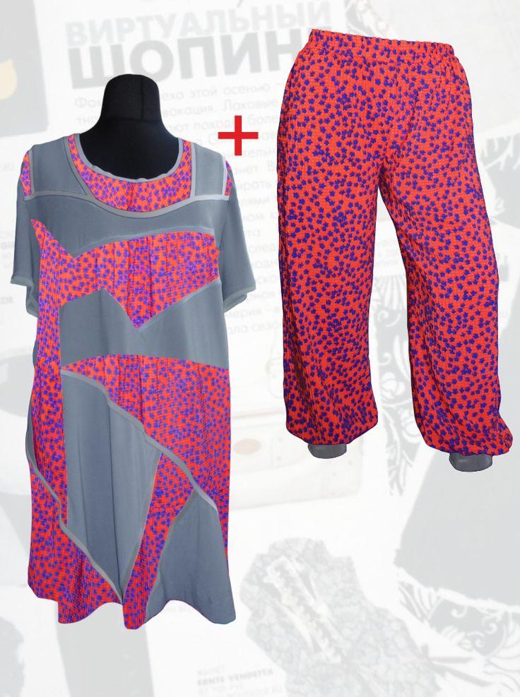 59$ Летний шифоновый брючный костюм для полных девушек: трикотажная туника с шифоновыми серыми вставками в мелкий синий цветочек + шифоновые брюки-шаровары Артикул 697, р50-64