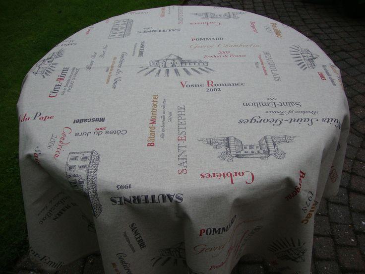 Wijnkaart tafelkleed rond 160cm