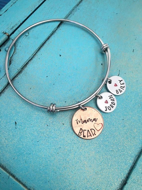 Mama Bear Penny Bangle Bracelet, Mothers Day Gift From Kids, Hand Stamped Birthday Gift For Mother,