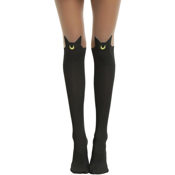 Hot Topic Sailor Moon Luna Faux Thigh High Tights (€9,77) ❤ liked on Polyvore featuring intimates, hosiery, tights, socks, accessories, legs, bottoms, thigh high hosiery, thigh high pantyhose and hot topic