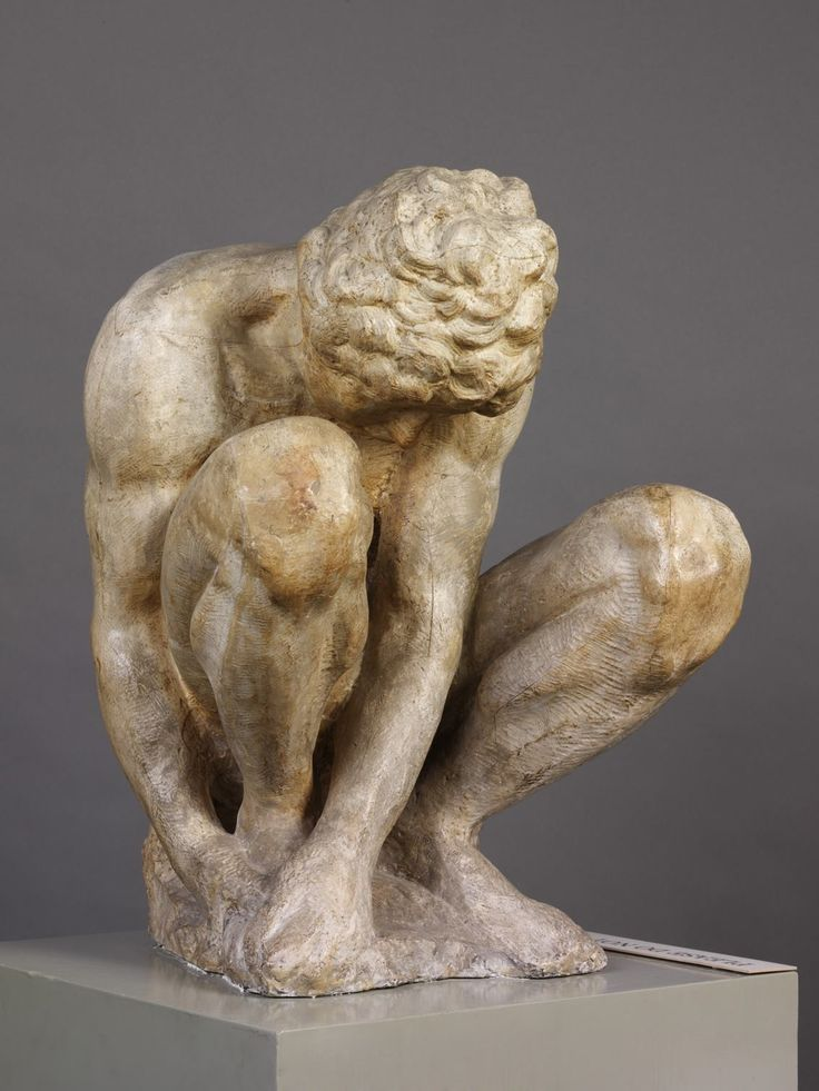 Michelangelo Buonarroti – Plaster Cast of a Crouching Boy, after the marble original, ca. 1884 (cast) | V&A