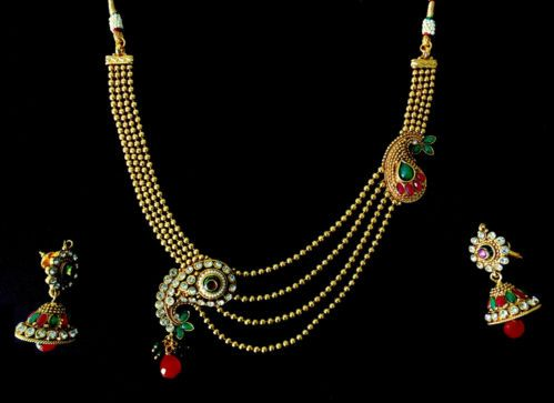 Indian Jewelry Necklace Earrings Diamantes Chain Rani Haar Bollywood Polki Set X | eBay