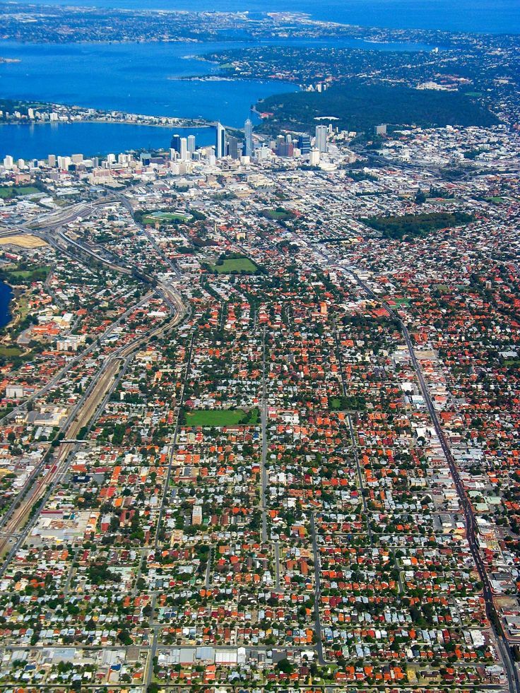 A striking aerial view of Perth and surrounding suburbs.