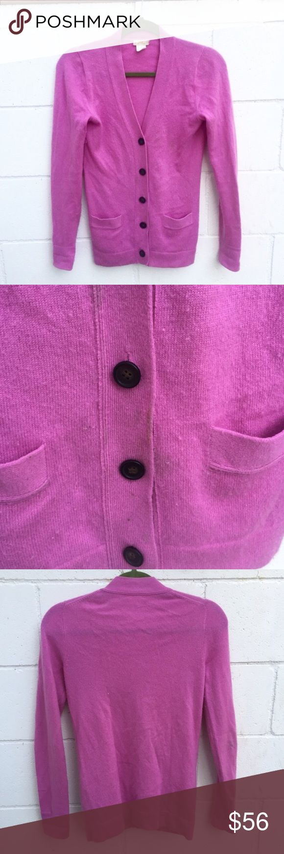 J. Crew Cashmere Hot Pink Cardigan Sweater Adorable Hot Pink Cardigan. 100% Cashmere. There's a few smalls stains as show in pictures, and material is a bit pilly. Has a small hole. Adds a pop of color to an outfit!! J. Crew Sweaters Cardigans