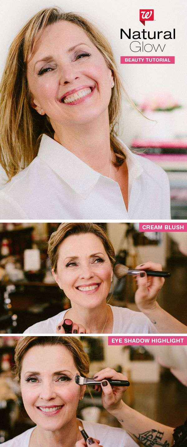 """Boast a natural radiance with crème blush and pro highlighting tricks. 1) Apply crème blush to a rounded brush then onto the apples of your cheeks, and slightly outward. 2) Brush a shimmery, light shadow onto what feels like a """"shelf"""" on the top of your cheekbone, near the corner of your eye. So pretty. Learn more on our """"Be Beautiful"""" blog!"""