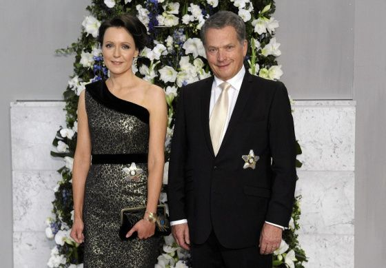 Sauli Niinistö, the present Present of Finland together with the First Lady, Ms. Jenni Haukio. Niinistö was elected to the Office in 2012.