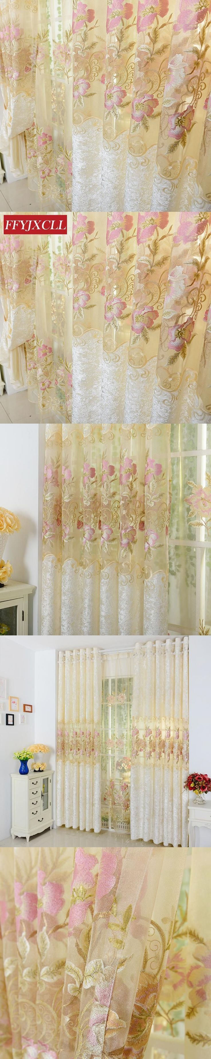Home Europe Design Floral Tulle Curtains For Living Room/ Bedroom Embroidered Blackout Curtains Window Treatment /drapes