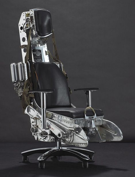 Fancy - desk chair crafted from the ejector seat from a 1960′s supersonic Mach 2 Lockheed F-104 Starfighter