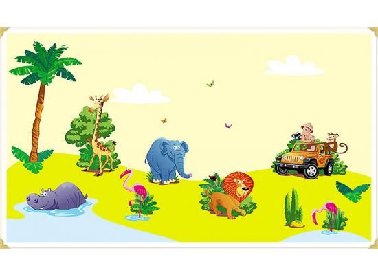 Wandsticker Set Kinderzimmer Dschungel-Safari