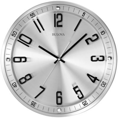 Ideal in any transitional d�cor, the Bulova Silhouette Stainless Steel Wall Clock features a metal case with a brushed stainless steel finish. This contemporary close also boasts a flush mounted glass dial, raised seconds track and a sweep seconds hand.