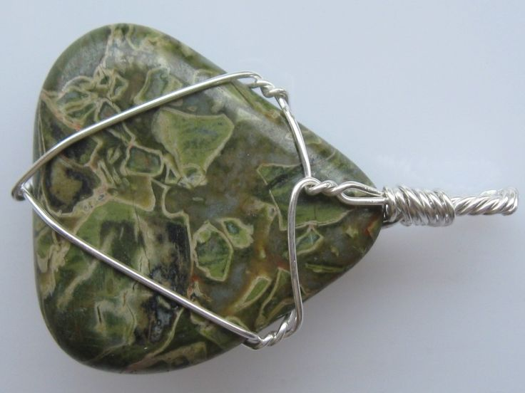 Jasper pendant wire wrapped in sterling silver