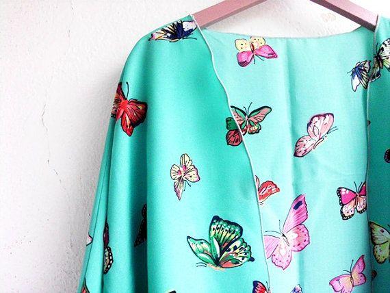 Kimono Cardigan / Turquoise green Kimono / Butterflies Kimono ...