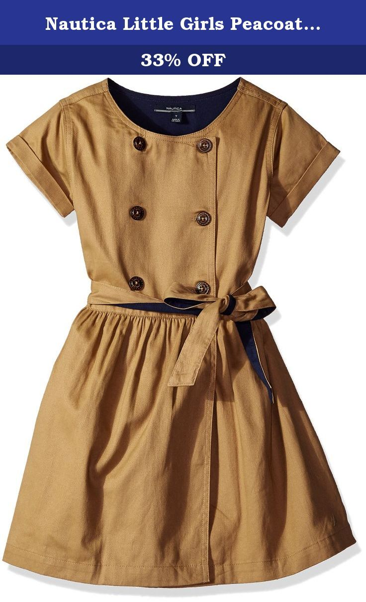 Nautica Little Girls Peacoat Dress with Sash, Khaki Tan, 3T. Nautica pea coat dress with double breasted buttons and sash included in larger size ranges.