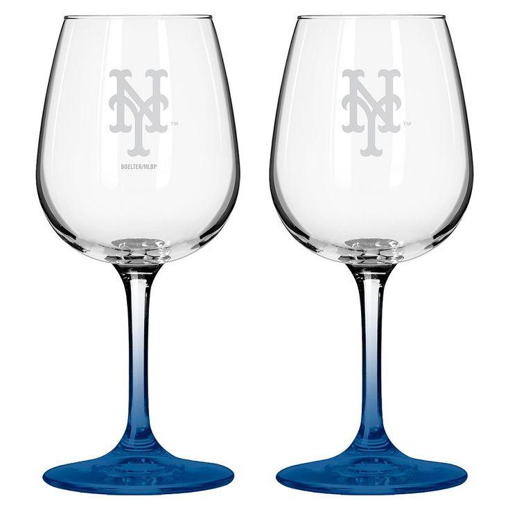 MLB Mets Wine Glass - Set of 2 - 12oz,