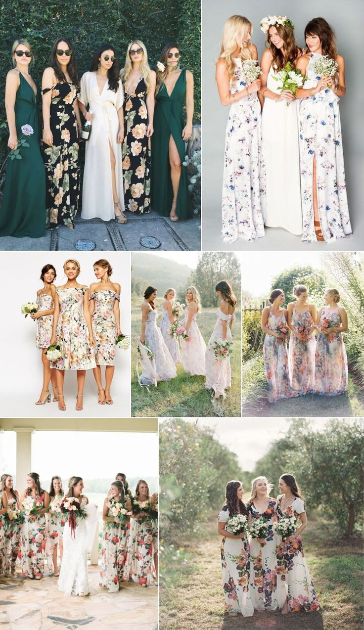 Floral Bridesmaid Gowns | Fly Away Bride                                                                                                                                                                                 More