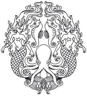Craft mythical decor, bags, and even garments with this sophisticated mermaid crest. Downloads as a PDF. Use pattern transfer paper to trace design for hand-stitching. Urban Threads