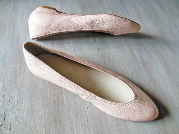 Blush Pink Ballet Flat  Vintage 1980s Leather Pink by HennyFaireCo