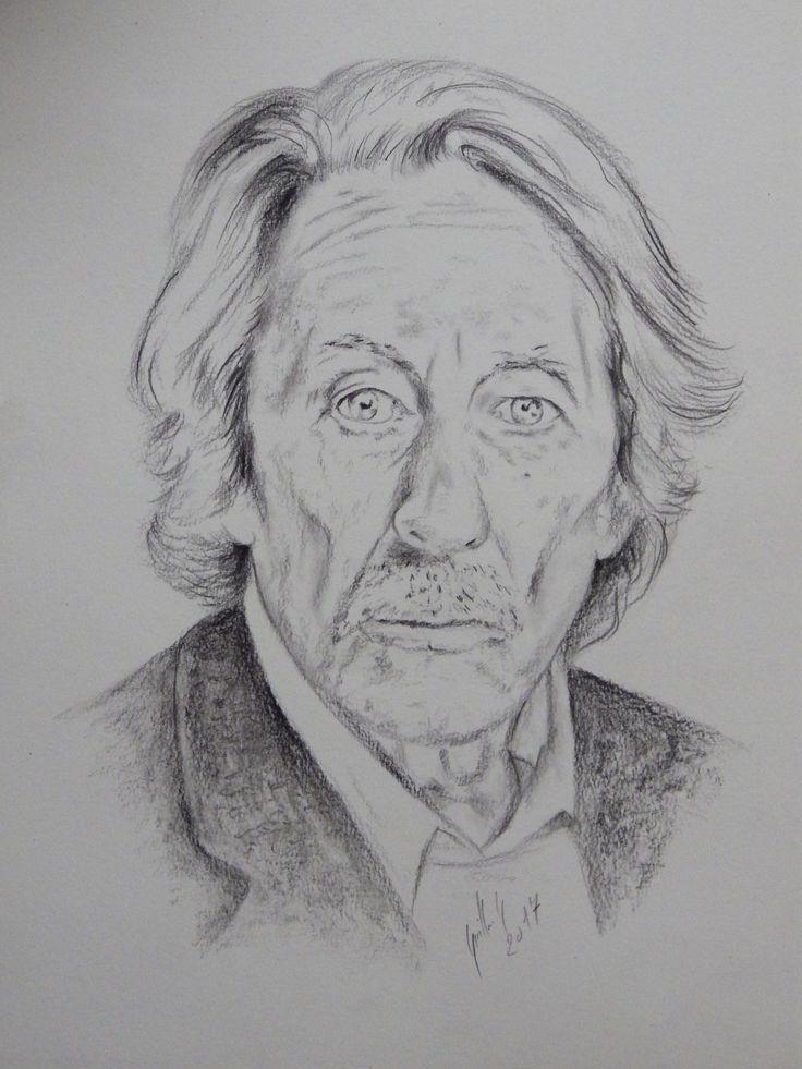 Jean Rochefort. Dessin au crayon