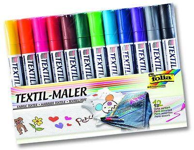 Textilmaler-Stoffmalstifte-Folia-12-Stueck-sortiert