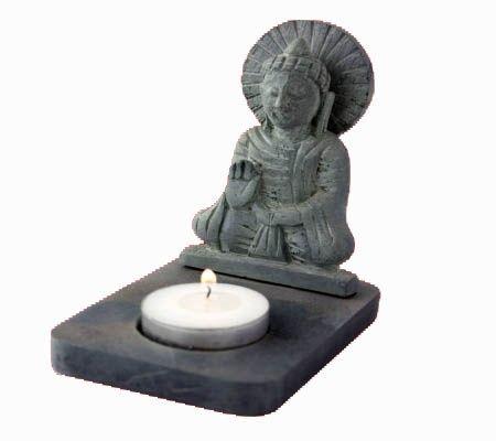 Sfeerlicht Boeddha waxinelichthouder zwart zeepsteen € 7,50