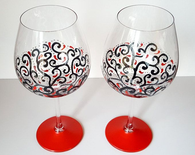 Hand painted wine glasses, red, black and silver wine glasses, great gift for girlfriend, gift for wife, wine gift for women
