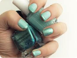 Minty glittered mint French mint mani nails