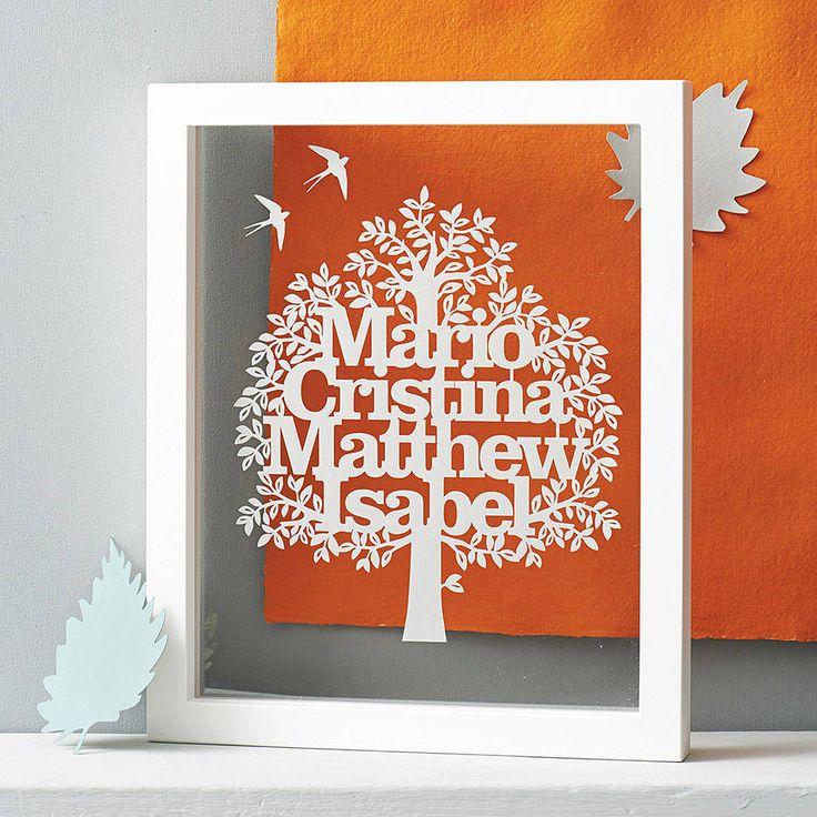 personalised family tree papercut by eticuts | notonthehighstreet.com £65