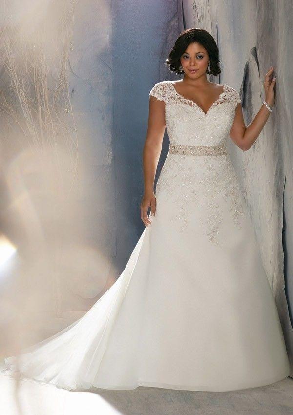 PlusMill Plus Size Mori Lee Wedding Dress For Curvy Women