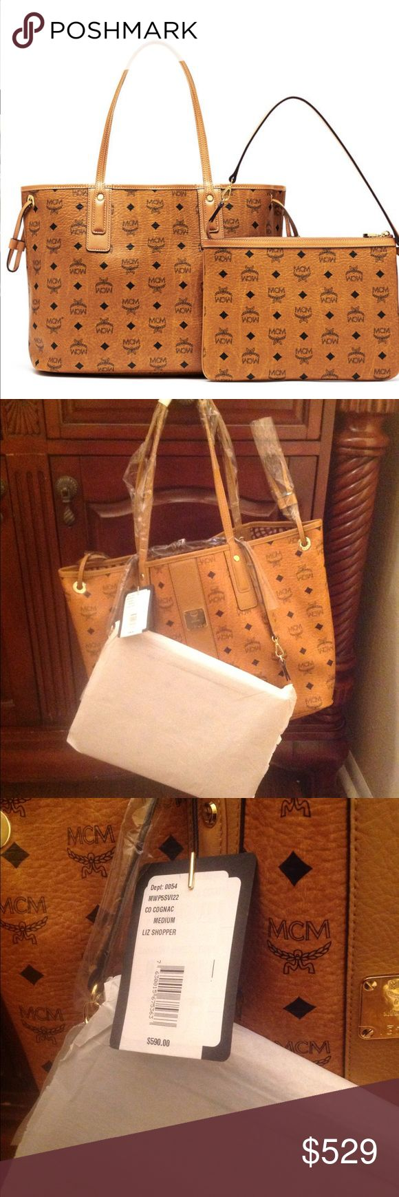 100% authentic NEW MCM cognac Liz tote medium Brand new. Tag attached. Cognac . No trades and price is firm. Size is medium. Pouch and duster included . MCM Bags Totes